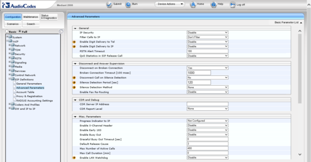 Настройка AudioCodes Mediant 2000 и подключение к Asterisk