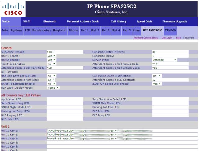 Настройка панели SPA500S