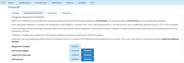 Firewall в FreePBX 14
